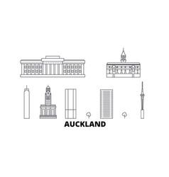 New zealand auckland line travel skyline set new vector
