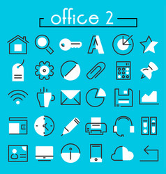 Office 2 linear icons collection vector