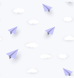 paper airplane and clouds seamless pattern vector image