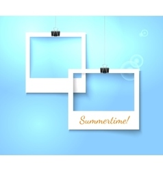 Paper photo frames composition template vector