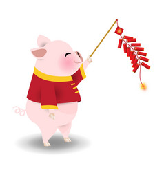 pig playing chinese cracker vector image