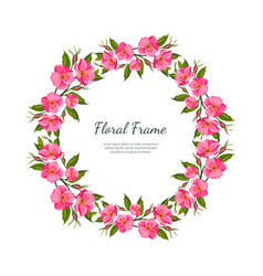 pink flowers round frame card template with vector image