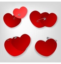 Pinned hearts set vector