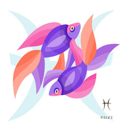 Pisces fishes zodiac sign astrological vector