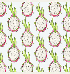 pitaya repetiotion pattern tropical dragon fruit vector image
