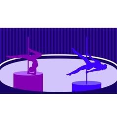 Pole dancers in pole dance studio flat style vector image