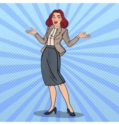 Pop Art Excited Happy Business Woman vector image