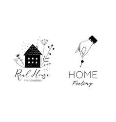 property real estate house and key elegant logo vector image