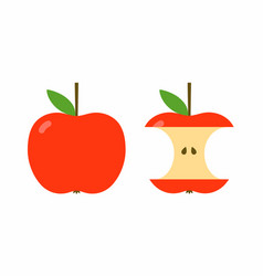 red apple and apple core simple flat style vector image