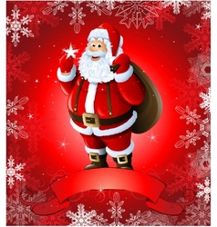Red Christmas greeting card with santa claus vector image