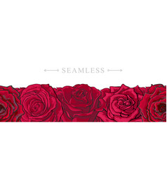 red roses border seamless pattern with romantic vector image