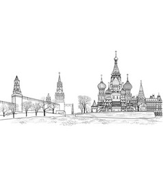 Red square view moscow russia travel russia vector