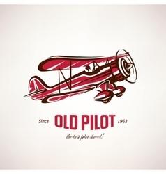 Retro biplane vintage airplane symbol vector