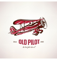 retro biplane vintage airplane symbol vector image