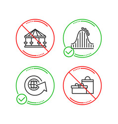 Roller coaster carousels and world globe icons vector