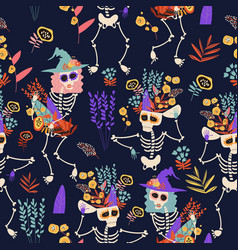 Seamless pattern with skeletons and flowers happy vector