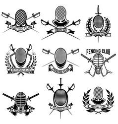 Set fencing club labels fencing swords design vector