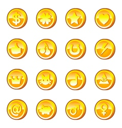 Set of gold coins vector