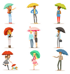 set of people with colorful umbrellas smiling man vector image