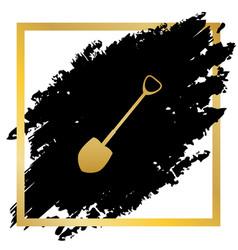 Shovel to work in the garden golden icon vector