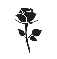 simple flat black rose hand drawn romance flower vector image