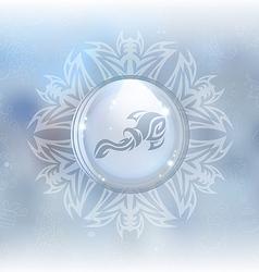 snow globe with zodiac sign Aquarius vector image