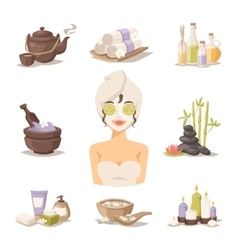 Spa beauty body care icons and woman in vector image