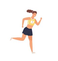 sportswoman professional runner jogging vector image
