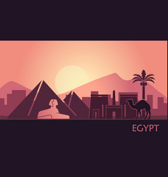 stylized landscape egypt at sunset vector image