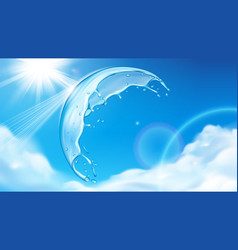 summer sky with sun behind splashing water bubble vector image
