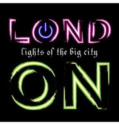 T shirt typography graphic london city neon vector