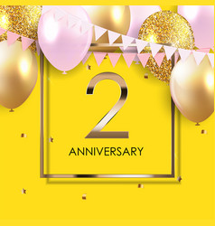 Template 2 years anniversary background vector