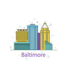 The baltimore sketch city sticker in lines vector