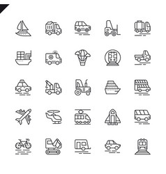 thin line transport delivery elements icons vector image
