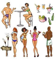 Tiki Bar Collection Hand drawn vector image