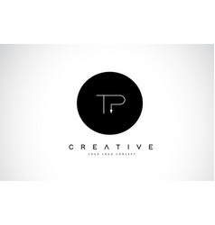 Tp t p logo design with black and white creative vector