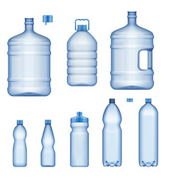 water bottles realistic plastic liquid containers vector image