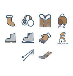Winter season icon set vector