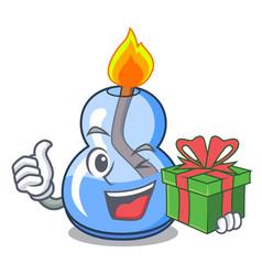 With gift alcohol burner mascot cartoon vector