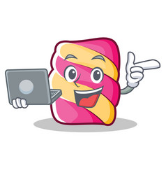 With laptop marshmallow character cartoon style vector