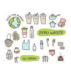 Zero waste elements set fabric bags glass jars vector