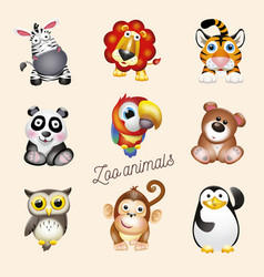 Zoo life cartoon fun zoo animals set vector
