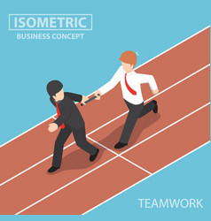 businessman passing baton in relay race vector image