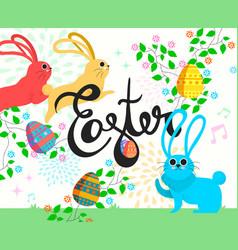 happy easter bunny in spring season vector image vector image