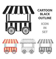 snack cart icon in cartoon style isolated on white vector image