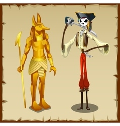 Two ancient symbols Anubis figurine and pirate vector image vector image
