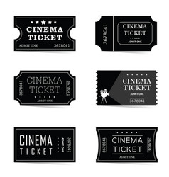 cinema ticket old set in black color vector image