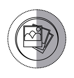 Monochrome contour with circle sticker of pictures vector