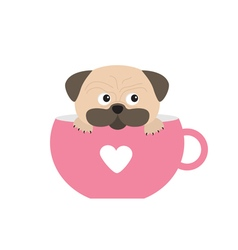Pug dog mops paw sitting in pink cup with heart vector image vector image