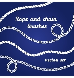 Rope and chain white brushes set vector image